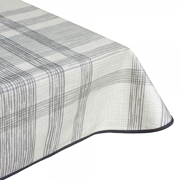Wiggly grey teflon wipe clean tablecloth