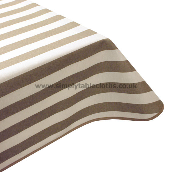 Beige Stripe Teflon Coated Tablecloth