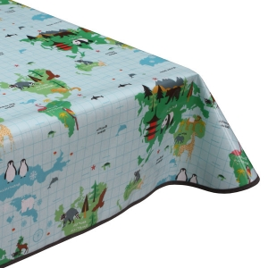 Kids Wildlife Map PVC Oilcloth Tablecloth