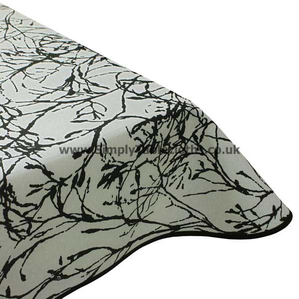 Nature White / Black Teflon Coated Tablecloth