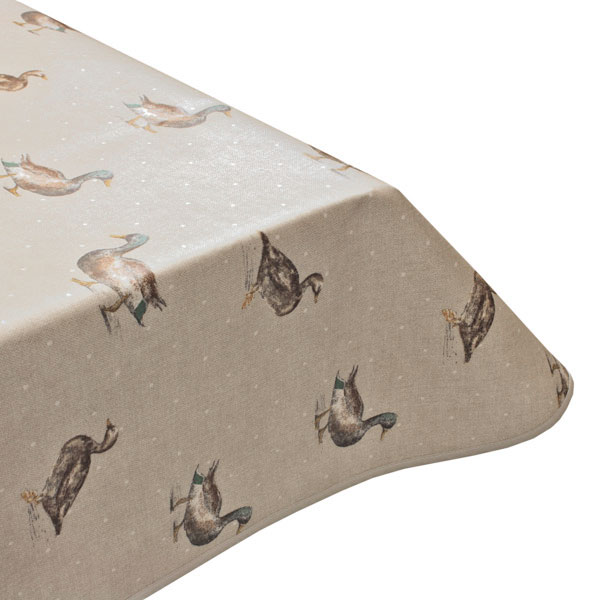 Mallard ducks beige oilcloth tablecloth