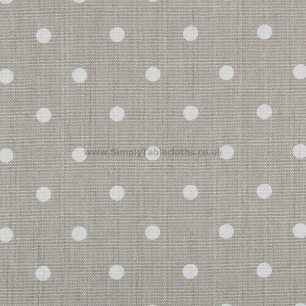 Polka Dot Natural Grey Matt Oilcloth Tablecloth