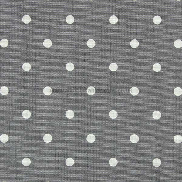 Polka Dot Slate Grey Matt Oilcloth Tablecloth