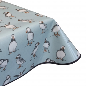 puffins duck egg oilcloth pvc tablecloth
